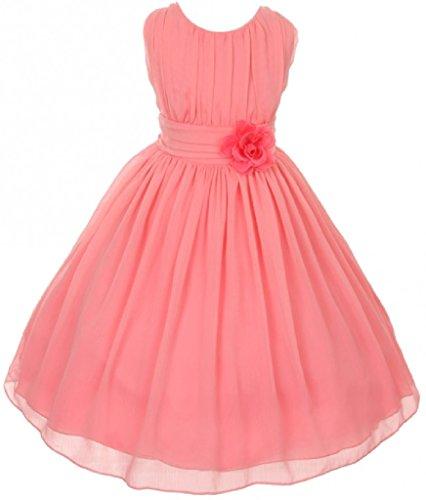 (Little Girls Elegant Yoryu Wrinkled Chiffon Summer Flowers Girls Dresses Coral 6)