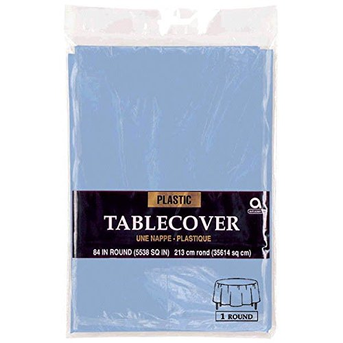Amscan Round Pastel Blue Plastic Table Cover | Party Tableware -