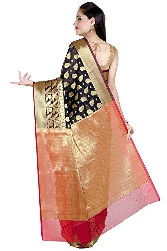 Chandrakala Women's Black Cotton Silk Banarasi Saree by Chandrakala (Image #2)