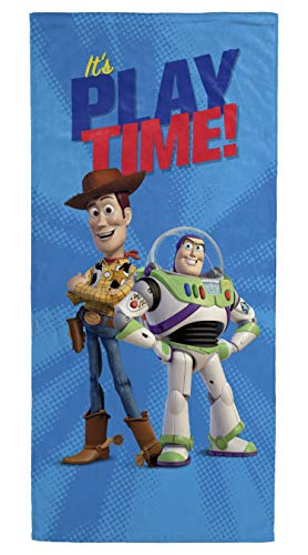 Disney Pixar Toy Story Play Time Kids Bath/Pool/Beach Towel - Woody & Buzz Lightyear - Super Soft & Absorbent Fade Resistant Cotton Towel, Measures 28 inch x 58 inch (Official Disney Pixar Product)