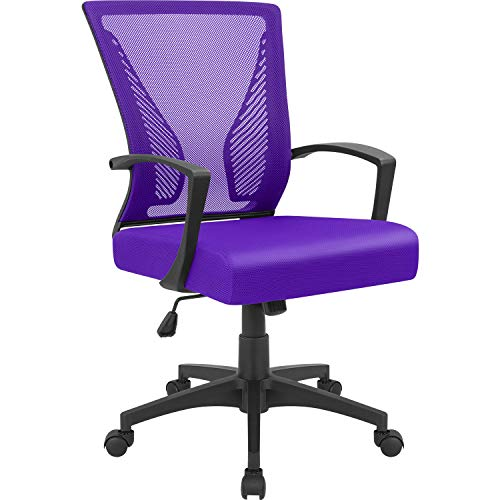 Furmax Office Chair Mid Back Swivel Lumbar Support Desk Chair, Computer Ergonomic Mesh Chair with Armrest Purple