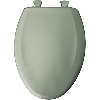 Elongated Closed Front Plastic Toilet Seat with Cover, Easy Clean, Aspen Green