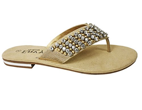 New womens flat diamante toe post ladies sparkly dressy party sandals Gold qLtKGM1