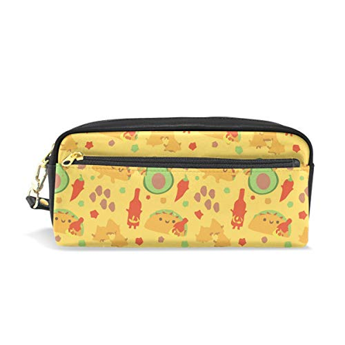 Spicy Cha Mexican Taco Avocado PU Leather Cosmetic Bag Makeup Pouch Pen Pencil Case Coin Purse Travel