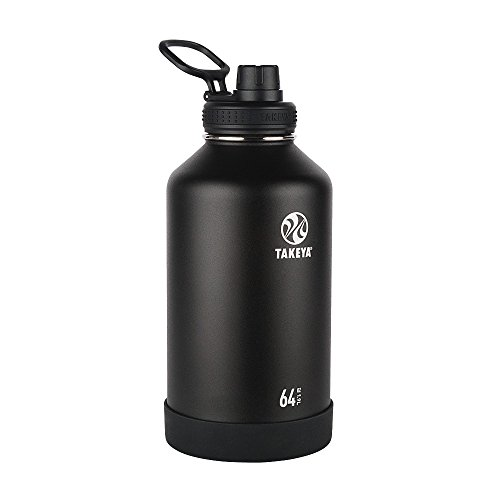 Takeya Actives Insulated Stainless Water Bottle Beer Growler with Insulated Spout Lid, 64 oz, Onyx by Takeya