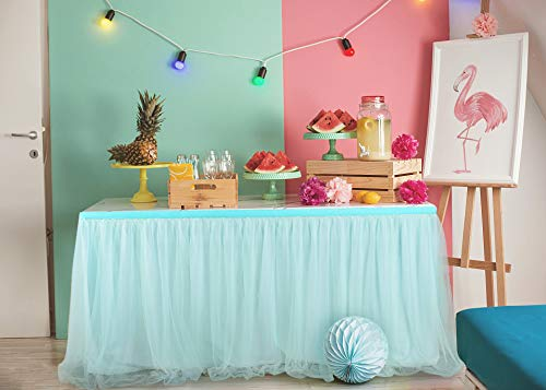 Suppromo High-end Gold Brim 3 Layer Mesh Fluffy Tutu Table Skirt Tulle Tableware for Party,Wedding,Birthday Party&Home Decoration (L14(ft) H 30in, Mint Green) by Suppromo