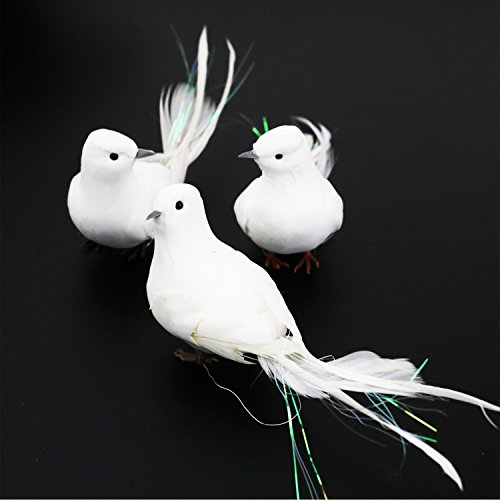 Buorsa 3Pcs Fake Long Tail Doves Artificial Foam Feather White Birds with Feet,Decorative Craft Bird for Home Ornaments,Wedding Decor