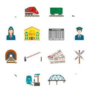 alfombrilla de ratón Conjunto de iconos de tren - ronda - 20cm