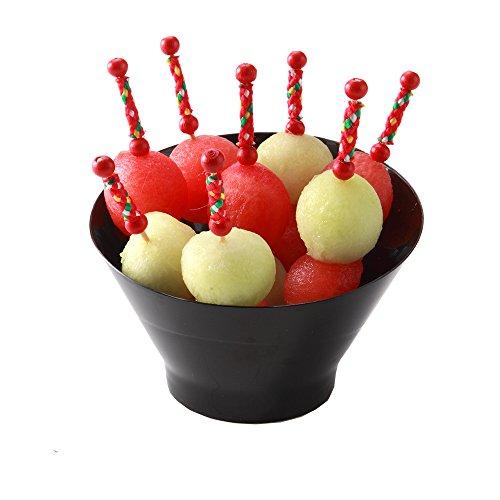 Black Dessert Bowl - Incline Bowl, Black Inclined Bowl - 6.5 oz Premium Plastic - Serve Desserts, Appetizers, Salads and More - 100ct Box - Restaurantware