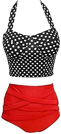 Women's Swimwear High Halter Black Dots Geometric Halterneck Decor Bikini Set-L