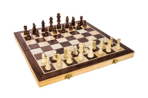 FUN+1 TOYS! High Quality 15-Inch Classic Folding Wooden Chess Set. Includes Wooden Pieces in Storage Pouches, Board, and Instructions!