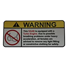 Saab Turbo Engine No bra, warning decal, sticker perfect gift