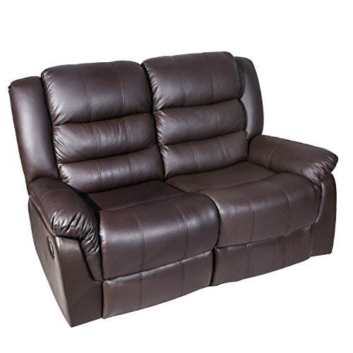 Harper&Bright Designs Classic Bonded Leather Recliner Love Seat, Double Reclining Sofa, Brown