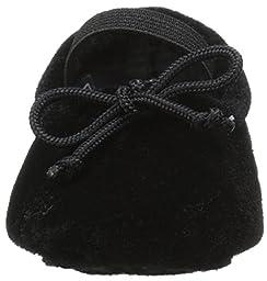 Ralph Lauren Layette MJ Ballet Flat (Infant/Toddler), Black Velvet, 3 M US Infant