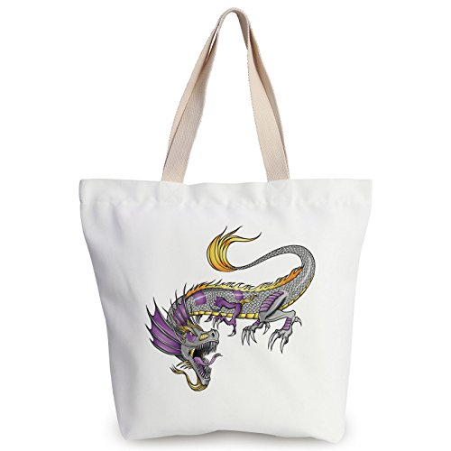 iPrint Fun Canvas Tote Bag,Japanese Dragon,Ethnic Far Eastern Beast Fiery Monster with Scales Fangs and Tail Decorative,Grey Violet Yellow,Canvas Shopping bag,shoulder handbags,Shoulder Bag by iPrint
