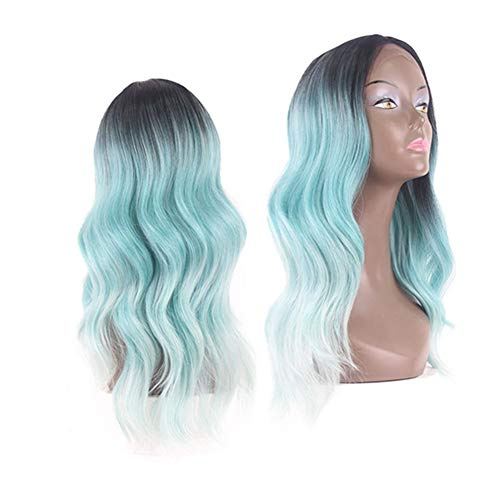 X-TRESS Synthetic Lace Front Wigs Ombre Black Green Glueless Turquoise Wig Heat Resistant Side Part Long Wavy Wigs 20Inch Mint Green Christmas Wigs For Women Cosplay Costume (R3241) -