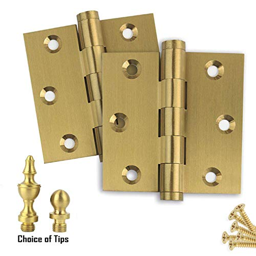 "2 PK - Door Hinges 3"" x 3"" Extruded Solid Brass Hinge Satin Brass US4 Finish Stainless Steel Pin, Architectural Grade, Ball/Urn/Button Tips Included"