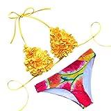 chuxin huang New Women's Bkini Flower Swimsuit Printed Two-Piece Bra Swimwear Beachwear (S, Yellow)