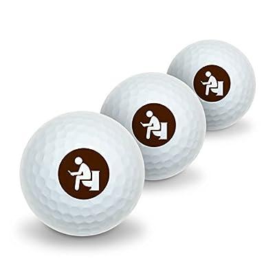 Man Pooping on Toilet Funny Novelty Golf Balls 3 Pack