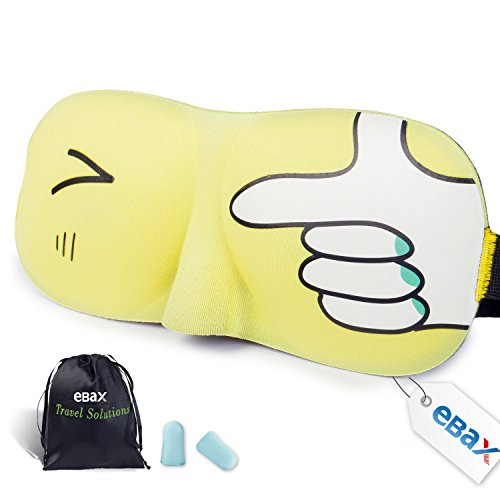 Ebax Milk Silk 3D Sleeping Eye Mask & Ear Plug, Carry Pouch - Blindfold,Smooth- 100% Satisfaction Guarantee (Yellow)