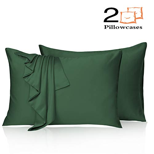 Leccod 2 Pack Silk Satin Pillowcase for Hair and Skin Cool Super Soft and Luxury Pillow Cases Covers with Envelope Closure (Deep Green, Standard: 20x26)