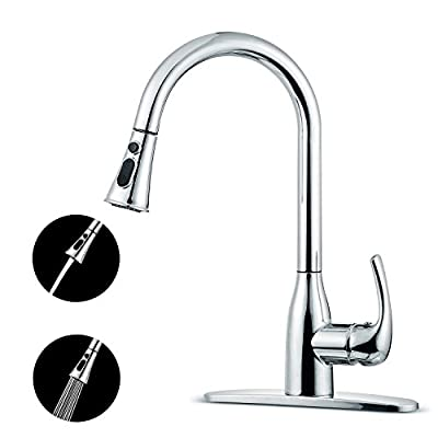 Kitchen Faucet, Coolife Touch On Stainless Steel Single Handle Dual Mode with Pause Fuction Pull Down Sprayer Brushed Nickel Pull Down Kitchen Sink Faucets