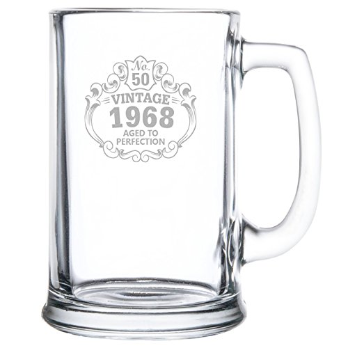 50th Birthday Vintage 1968 Aged to Perfection Engraved • 15oz Beer Mug • Great Gift for Father • Grandfather • Husband • Son • (50th Birthday Beer)