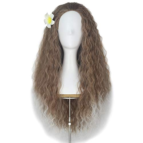 Unisex Women 80cm Long Curly Dark Brown Hair Halloween Cosplay Costume Wig for Girl (Brown ombre -