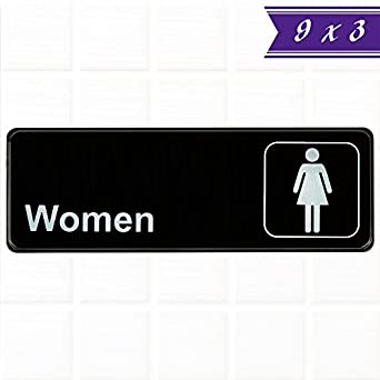 women restroom sign black and white 9 x 3 inches womens bathroom sign - Womens Bathroom Sign