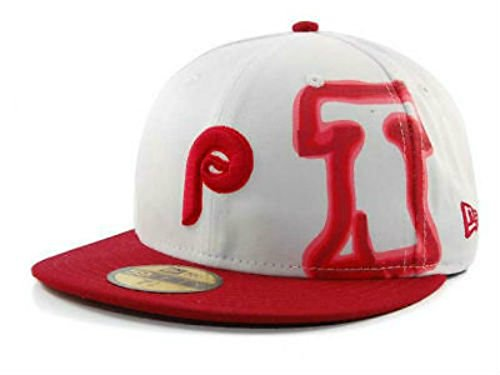 Philadelphia Phillies Fitted Size 7 1/2 Hat Cap Throwback Colors - Gold Sticker Attached