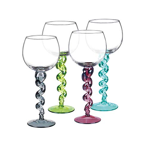 Unique Handcrafted Goblet Wine Glasses with Multicolored Twisted Stems, Set of 4-13 Oz Each