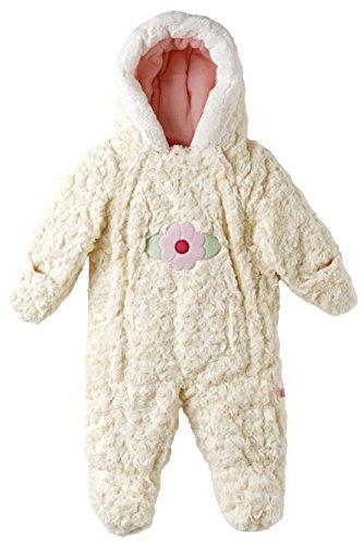 Wippette Baby Girls Infants Hooded Faux Fur Fleece Lined Winter Puffer Snowsuit - Cream (9M)