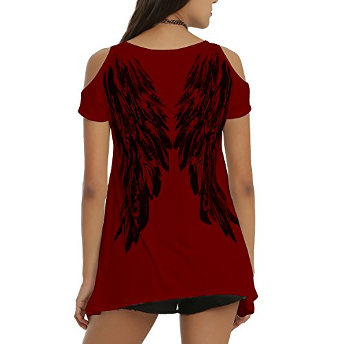 Tulucky Womens Fashion Angel Wing Loose T Shirts Cutout Shoulder Irregular Tops (XXL, Wine red)