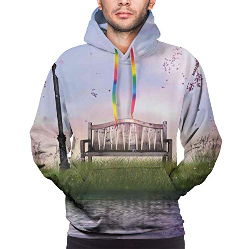 Men's Hoodies Sweatershirt,Bench On Flowing River with Crescent Moon Lavender Trees and Grass Illustration,XXL