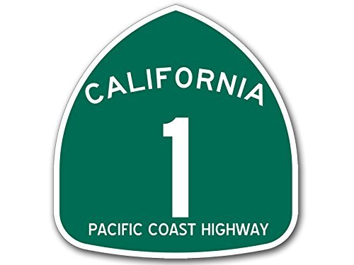 Green California 1 Pch Pacific Coast Highway Sign Shaped Sticker  Road Rv Ca Travel