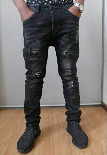 Rt Nn Con 11 black Jeans Bikini Maschile Straight 34 Moda Chiusura Strappati Size Denim 9852 color Stili Twill Ragazzo 7xwtEnna
