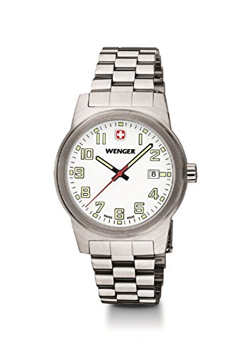 Mens Wenger Field Swiss Military Steel Date Casual Watch 01.0441.120