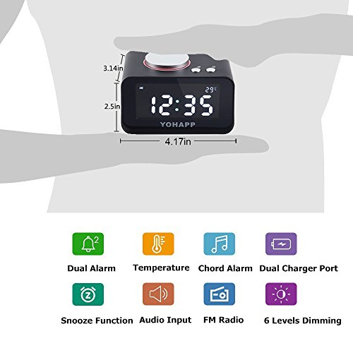 (UPDATED) Digital Alarm Clock FM Radio Loud Alarm Clock for Heavy Sleepers with Dual Alarm ,AUX in and Dual USB Charging Ports,Brightness Dimmer Night Light, YOHAPP Radio Alram Clocks For Bedrooms