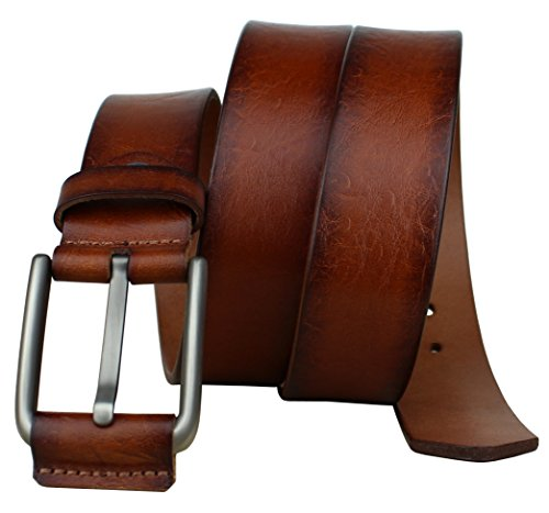 Bullko Men's Casual Genuine Leather Dress Belt For Jeans 1 1/2 Brown 38-40inch by Bullko (Image #2)
