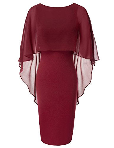 - GRACE KARIN Batwing Cape Bodycon Pencil Dress for Juniors Size M Wine Red