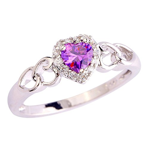 Veunora Jewelry 925 Sterling Silver Created Amethyst Filled Dainty Heart Love Ring for Women Size 7