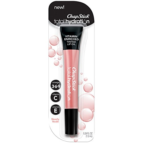 ChapStick Total Hydration Vitamin Enriched Tinted Lip Oil (Nearly Nude, 1 Tube), Vitamin C, Vitamin E, Contains Omega 3 6 9, 0.24 Ounce