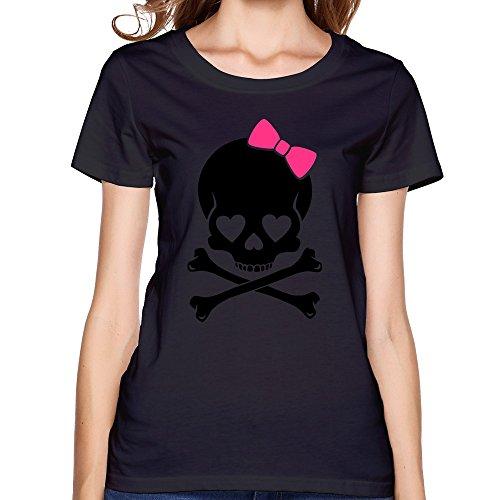SNOWANG Women's Girlie Skull T-shirt S -