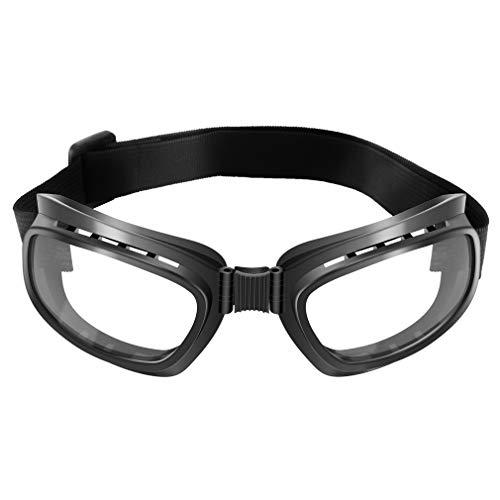 Nsdsb Faltbare Vintage Motorradbrille Winddichte Brille Staubdichte Brille Schwarzer Rahmen & Klare Linse