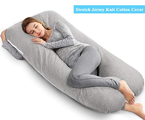 Comfort Body Support U Pillow (AngQi 55-inch Full Body Pregnancy Pillow, U Shaped Maternity Pillow for Back Pain Relief and Pregnant Women, with Washable Stretch Jersey Cover, Gray )