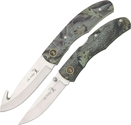 Elk Ridge - Outdoors Fixed Blade and Folding Knife 2-PC Combo Set - 7.75-in Overall Gut Hook Fixed Blade Knife - 4.25-in Closed Folding Knife - Camo Coated Wood Handles, Includes Nylon Sheath, Hunting, Camping, Survival - ER-045CA