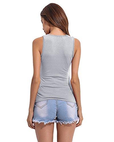 StyleDome - Camisas - Sin mangas - para mujer gris