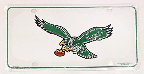 Philadelphia Eagles White 2521 RETRO Logo Metal Aluminum Novelty License Plate Tag Football ()