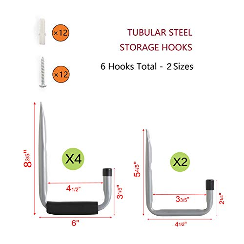 Heavy Duty Arm Garage Storage/Utility Hooks with EVA Protector by Ihometech, Wall Mount Garage Hangers & Organizer for Ladder,Tools and Chair Hose | (6 Pack - Gray) by Ihometech (Image #1)