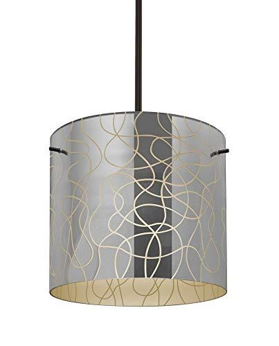 Besa Lighting 1TT-LITH12CR-BR Lithium 12 - One Light Stem Pendant, Bronze Finish with Lithium Creme Glass ()